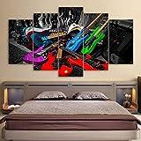 UYEDSR 5 Piezas HD Pintura de Lienzo Cartel Moderno Arte Guitarra de Instrumento Musical Pared diseño de Cuadros para dormitorios