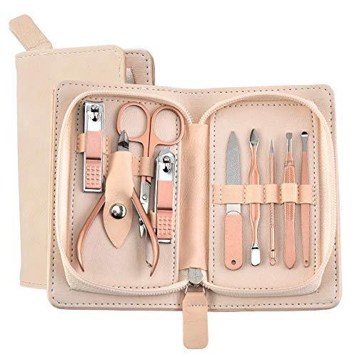 Sets manucure 18pcs pour les femmes, la mode Pédicure ongles professionnel en acier inoxydable Clippers Kit Toilettage pour les filles, or rose (9pcs)