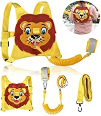 Toddlers Leash + Anti Lost Wrist Link Child Kids Safety Harness Kids Walking Wristband Assistant Strap Belt for Girl Pink Christmas Gift (Yellow)