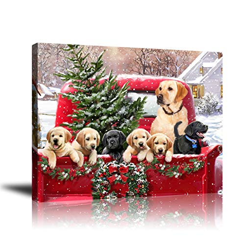 Christmas Pictures for Wall, Dogs on Red Truck Canvas Print Wall Art for Living Room Bedroom Home Office Decor Ready to Hang 16x20 inches