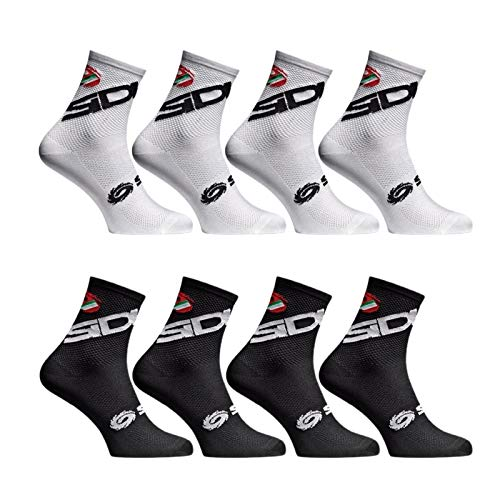 chinejaper 4 Paare Fahrradsocken für Herren, Radsocken Rennrad Socken Atmungsaktiv, 2xSchwarz & 2xWeiß, 39-45EU