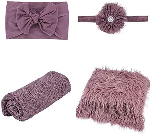 4 Pcs Newborn Photography Props Outfits Baby Purple Long Ripple Wrap and Toddler Swaddle Blankets product image