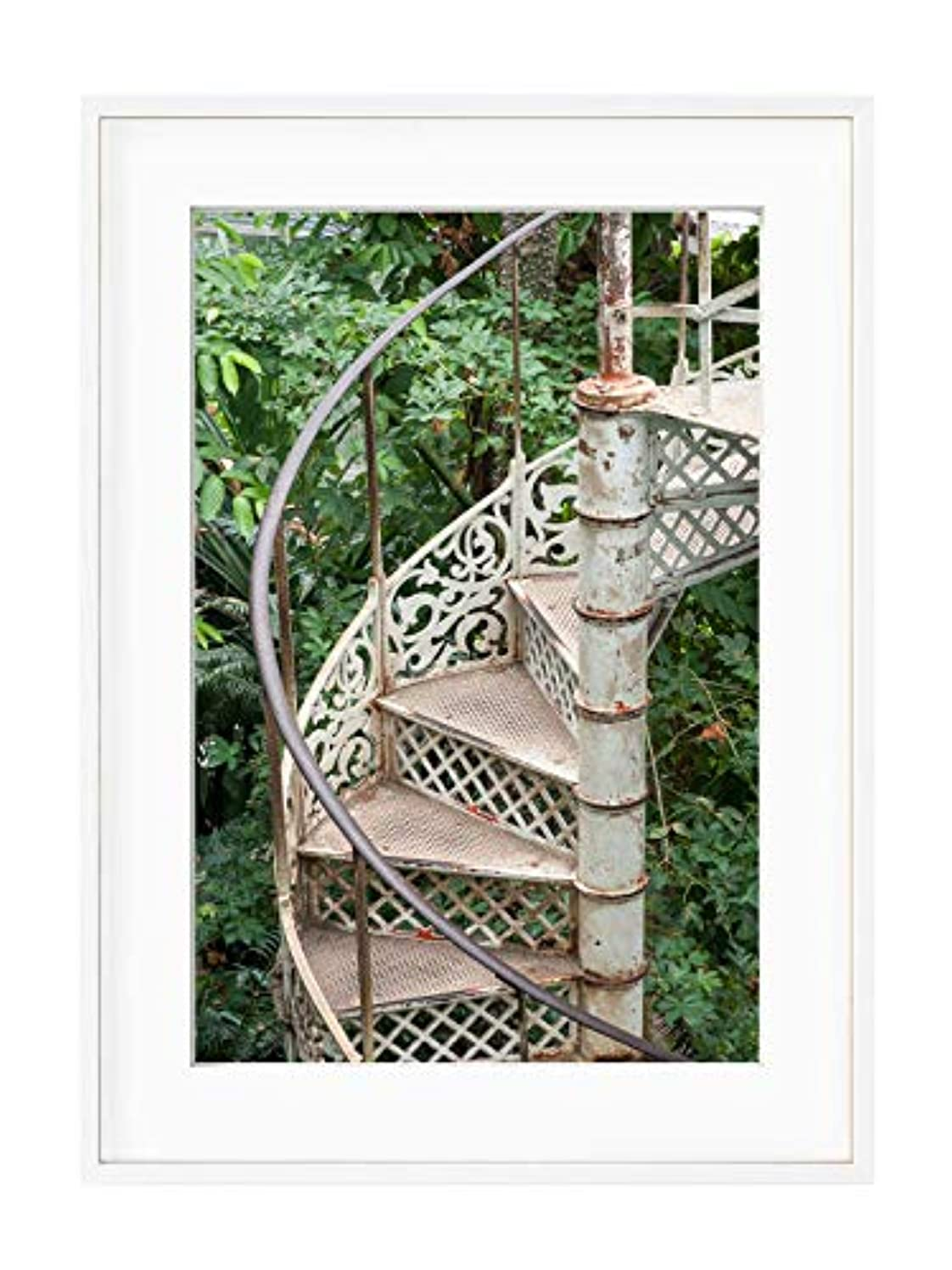 Greenhouse Staircase, White Varnished Wood Frame, with Mount, Multicolored, 40x50
