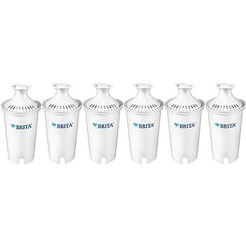 Brita Longlast Filtro de agua, filtros de repuesto de larga duración para jarras y dispensadores, Estándar, 6ct, 6ct, 1, 6