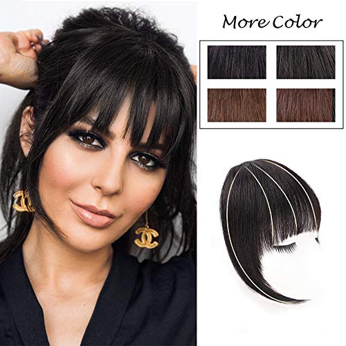 DeeThens Human Hair Clip On Bangs Black Bangs Clip in HairPieces Human Hair Bangs Clip on Real Hair Flat Neat Bangs with Gradual Temples Hairpiece for Daily Wear(Color:Natural Black)