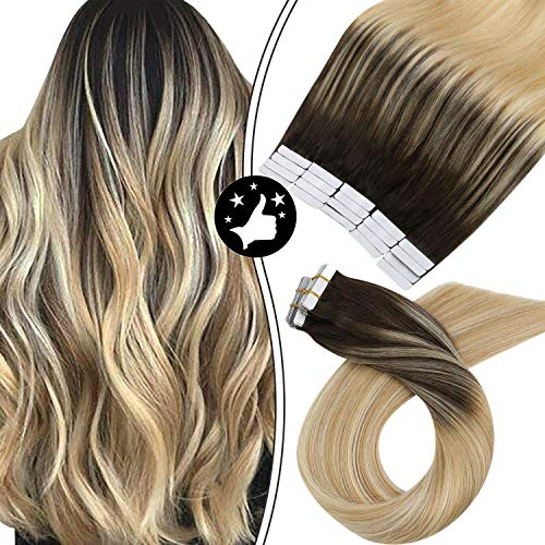 Moresoo Extension Adhesive Cheveux Naturel Balayage 16 Pouces Extension de Cheveux Humains Femme 50G/20Pcs Extension Cheveux Lisse naturel et Doux #2/