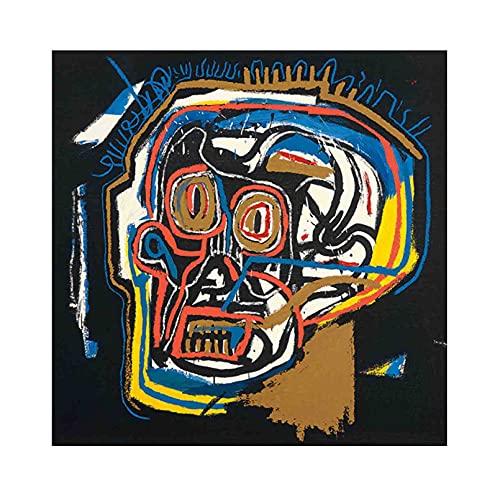 《Cabeza》 Jean-Michel Basquiat Cuadro en Lienzo| Lienzos Decorativos | Cuadros Decoración Dormitorios | Cuadros Decoración Salón (80x80cm (31x31inch), Sin marco)