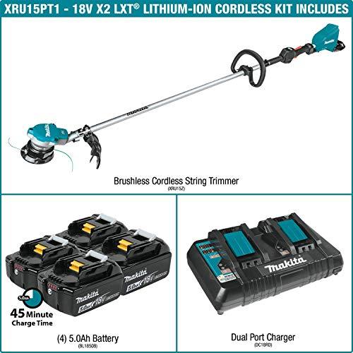 Makita XRU15PT1 Lithium-Ion Brushless Cordless (5.0Ah) 18V X2 (36V) LXT String Trimmer Kit with 4 Batteries, Teal