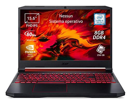 Acer Nitro 5 AN515-54-54VX Notebook Gaming, Intel Core i5-8300H, Ram da 8 GB DDR4, 256 GB PCIe NVMe SSD, Display 15.6  FHD IPS LED LCD, Grafica NVIDIA GeForce GTX 1050 3GB, No Sistema operativo