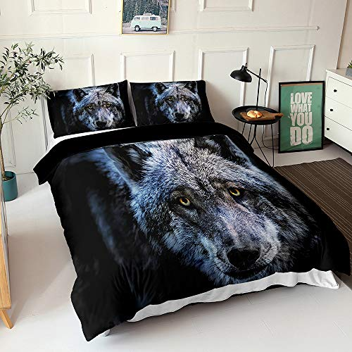 Meet Bedding Duvet Cover Set Colorful Animals Microfiber Bohemian Bedding Comforter Covers Double, with White Zipper Closure (Wolf,King(220x230cm))