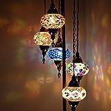 Lámpara de pie Tiffany de mosaico marroquí turco personalizable 5 globos para lámparas de esquina de dormitorio