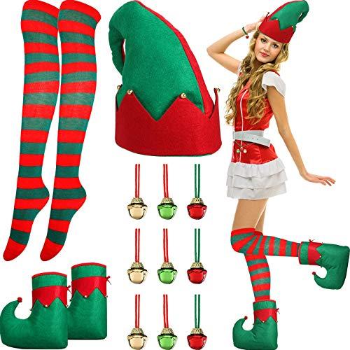 Juego de Disfraz de Elfo de Santa, Zapatos Sombrero de Elfo Cascabel Medias a Rodilla de Rayas Rojas y Verdes para Mujeres Adultas Disfraz Trajes de Fiesta de Navidad