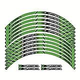 Pegatinas coche moto Etiqueta de la motocicleta for Kawasaki Z750 Z 750 de alta calidad de la llanta de motocicleta ángulo externo tiras de etiquetas engomadas de la rueda Rueda (Color : Green)