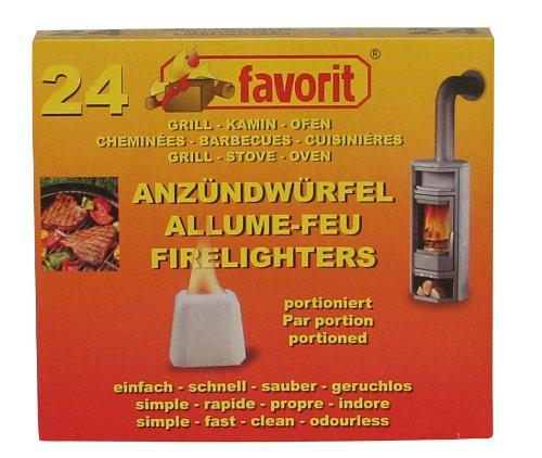 Favorit vaste aanmaakblokjes geportioneerd; paraffinebasis, brandsterk, geurloos; afzonderlijk in de tray; 24 stuks - 1224