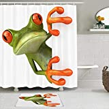 PbbrTK Stoff Duschvorhang & Matten Set,Frosch,wasserdichte Badvorhänge mit 12 Haken,utschfeste Teppiche
