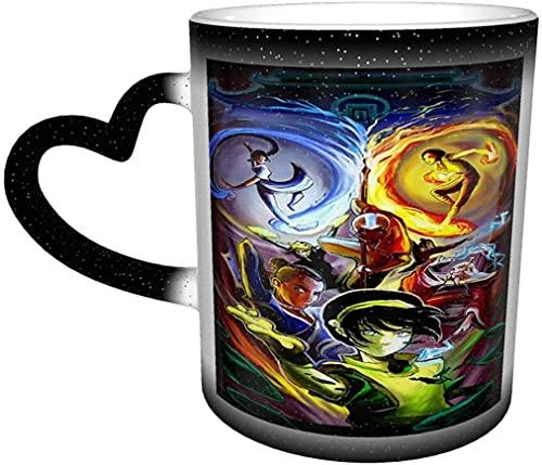 Avatar The Mug Last Airbender - Taza de café que cambia de color, sensible al calor, cambiante en el cielo, taza de té de cerámica, color negro, 12 onzas