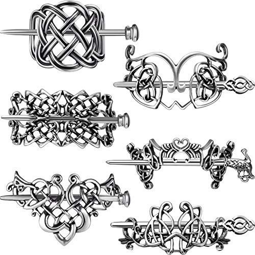 6 Pieces Vintage Silver Celtic Hair Slide Hairpin Celtic Knot Hair Stick Creative Hair Barrette Metal Hair Stick Clips Hair Pin Hair Accessories for Women Girls