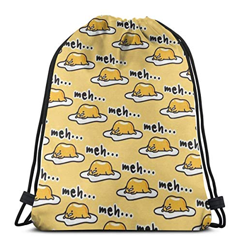 Drawstring Bags Gudetama Cute Orange Yellow Cartoon Storage Pouch Bag laundry bag Backpack Bag Washable Dust-Proof Breathable Non-Transparent For Men Women Travel Sport Gym Sackpack