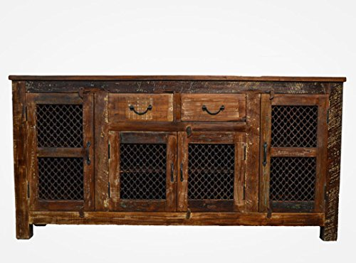 Favors Reclaimed Wood Rustic Sideboard Buffet Table with Iron Grill