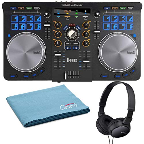 Learn More About Hercules Universal DJ Bluetooth DJ Software Controller Bundle with On-Ear Stereo He...