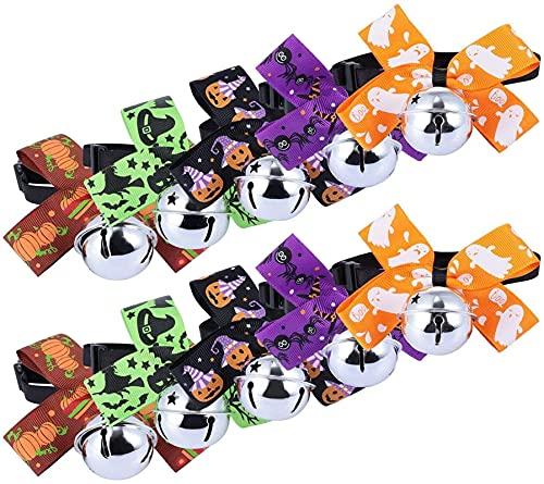 WSYGHP 10pcs Halloween Pet Collier créatif avec Collier de Mode Bell Bowknot Cravate Cravate pour Animaux de Compagnie Costumes créatifs Collier pour Chien