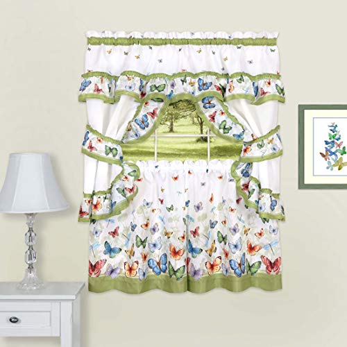 """PowerSellerUSA 5-Piece Complete Window Kitchen Curtain Cottage Set with Tier Panels, Valance with Attached Swaggers and Tiebacks - 57"""" (W) x 24"""" (L), Butterflies"""