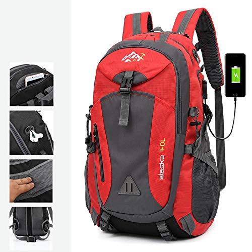 Topashe Mochila de Hombro para Ciclismo montañismo Viaje,Bolsa de Viaje con Carga USB, Bolsa de montañismo portátil 40L-Red_Standard Edition,Mochila de Hombro para Ciclismo montañismo Viaje