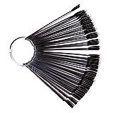 50 pcs Herramientas de Práctica de Esmalte de Uñas, Forma de Abanico, Paleta de Uñas Tarjeta de Presentación en Color(negro)