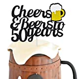 Joymee 50 Birthday Cake Topper,Cheers & Beers to 50 Years Cake Topper,50th Birthday Wedding...