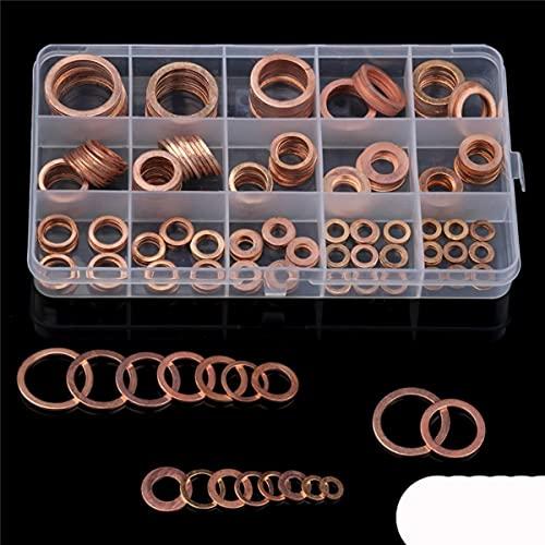 280/250/200/120 Uds, Junta sólida de sellado de cobre, arandela, aceite de tapón de sumidero para barco, anillo de sello plano, accesorios de hardware, paquete-120 Uds M5-M12