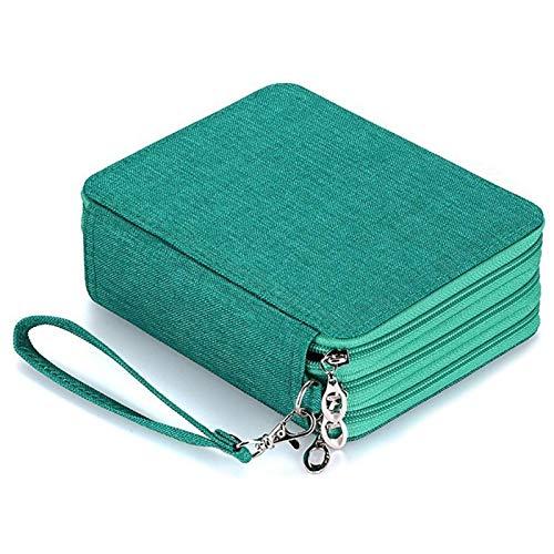 DDDCM La Caja de lápiz de la Escuela for Chicos, Chicas Bolso de la Pluma 72 Grandes Agujeros de la Capa de lápiz del Multi Impermeable de la Caja de Escritorio (Color : Lake Green)