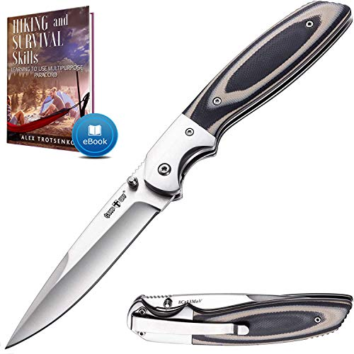 Pocket Knife - Tactical Survival Folding Knives with Pocket Clip for Men Women - Best EDC Work Camping Hiking Hunting Boy Scout Knofe - Sharp Blade Tool - Comes with E Book - Gift for Men 04003