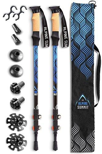 Alpine Summit Hiking Trekking Poles with Anti-Shock Tips, Best 2 Piece Adjustable Walking Survival Sticks for Women & Men, Collapsible Lightweight Strong Aluminum for Travel, Cork Grip Padded Handles