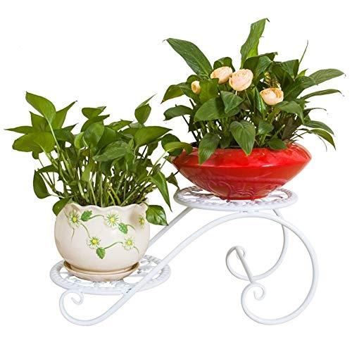 YYQIANG Flor de la planta del soporte 2 Capa Tiesto Titular del arte del hierro for suelo de la bandeja de diseño impermeable Antioxidantes interior de la oficina, 3 colores Exhibición y decoración, a