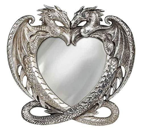 Alchemy Gothic Espejo gótico Antiguo del corazón del dragón de Plata