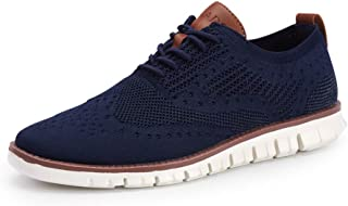 COOJOY Men's Mesh Wingtip Oxford Breathable Walking Shoes Casual Lightweight Lace up Sneaker