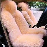 OKAYDAピュアウールカーシートカバー車の装飾シートクッションウールシープスキンウォームソフト通常の車軽量オーストラリア生革トップラムシートクッションウールシープスキン (1枚ブラック)