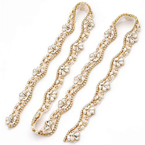 Yanstar Wedding Bridal Gold Rhinestone Applique Trim Crystal Iron On Applique for Dress Sash Garter Belt 1 Yard