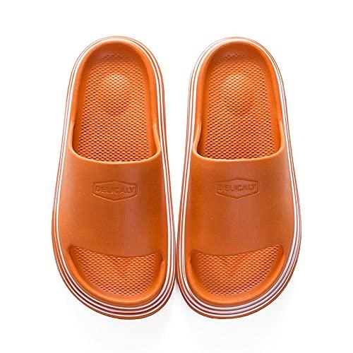 LLGG Ducha Zapatillas Antideslizantes,Sandalias Antideslizantes Inferiores Blandas, desodorantes, sin Usar Zapatillas ultraligeras-Naranja_36-37,Zapatillas cómodas portátiles