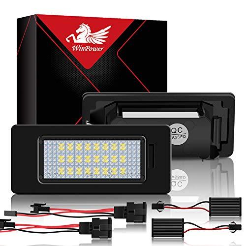 WinPower SMD Kennzeichenleuchte Heckleuchte für 12V PKW, 6000K Xenon-Look, Nummernschildbeleuchtung, Weiß, 2 Stück