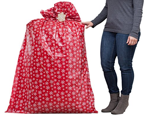 "Hallmark 56"" Jumbo Christmas Gift Bag (Red with White Snowflakes) for Kitchen Appliances, Carry-on Luggage, Large Toys and Stuffed Animals"