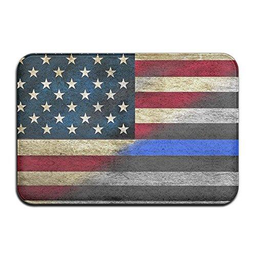 FastsCOW Weichem rutschfestem dünn blau Line, Police Officer Flagge Badteppich Coral Fleece Bereich Teppich Fußmatte Eingang Teppich Fußmatten