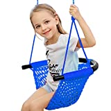Arkmiido Kids Swing, Swing Seat for Kids with Adjustable Ropes, Hand-kitting Rope Swing Seat Great for Tree, Indoor, Playground, Background (Blue)