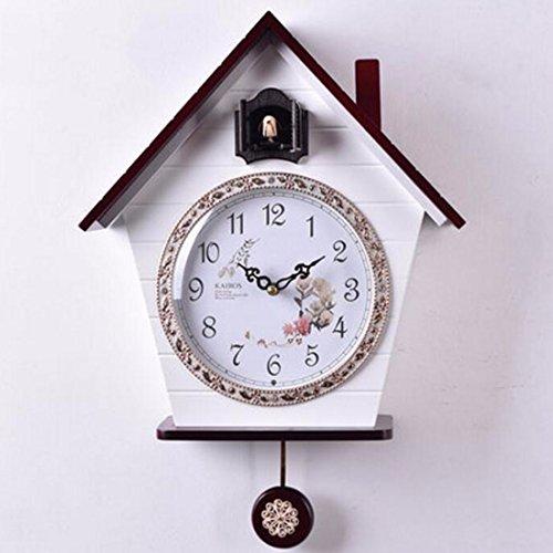Wanduhr Pastorale Uhr Kuckucksuhr Licht Fernerkundung Bericht Hölzerne Uhren Kreativen Raum Süß Uhr,B