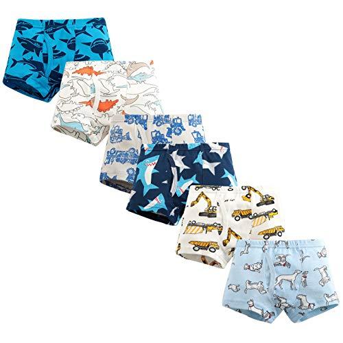 LPATTERN Baby/Kleinkind/Kinder Jungen 6er Pack Baumwolle Unterwäsche Unterhose Höschen Schlüpfer Boxshorts, Hunde+ Hai+ Auto Shorts, 104-110(Label:110)