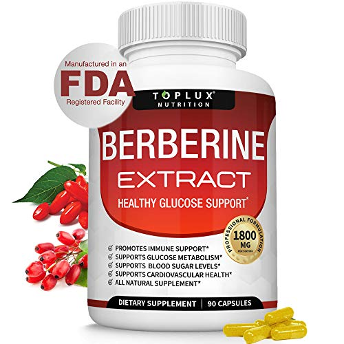 Berberine Extract 1800 mg HCl Complex - Premium Strength Berberine Plus to Support Immune Function, Blood Sugar Metabolism and Cardiovascular Health, for Men Women, 90 Capsules, Toplux Supplement