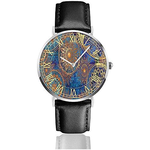 Reloj Hippie Blue Amazing Relojes de Pulsera Acero Inoxidable de Cuarzo y Cuero de PU