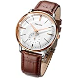 Men's Wrist Watches ROCOS Automatic Mechanical Watch for Men Waterproof Analog Watch with Stainless Steel and White Dial Luxury Classic Elegant Gift#R0140 … (Brown)