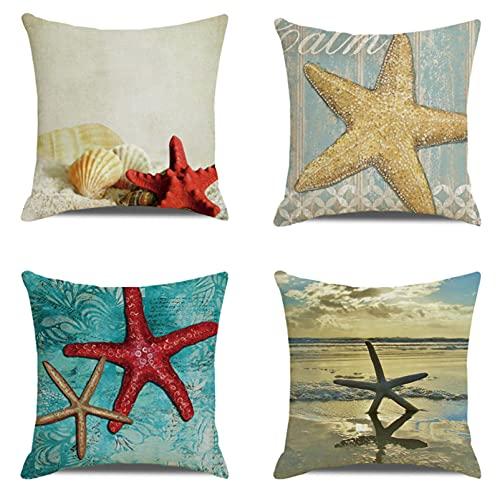 JOVEGSRVA Juego de 4 fundas de cojín de lino decorativo al aire libre con estrellas de mar rojas para el hogar, oficina, sofá, coche, jardín, 45 x 45 cm