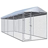 vidaXL Outdoor Dog Kennel with Roof Lockable Mesh Sidewalls Heavy Duty Garden Backyard Pet Cage 299'x75.6'x88.6' Galvanized Steel